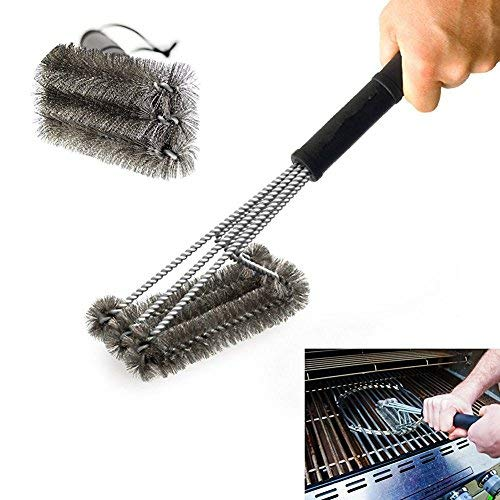 PePeng Heavy Duty 3-Branch Triangular metal brush stainless steel bristles for cleaning barbecue...