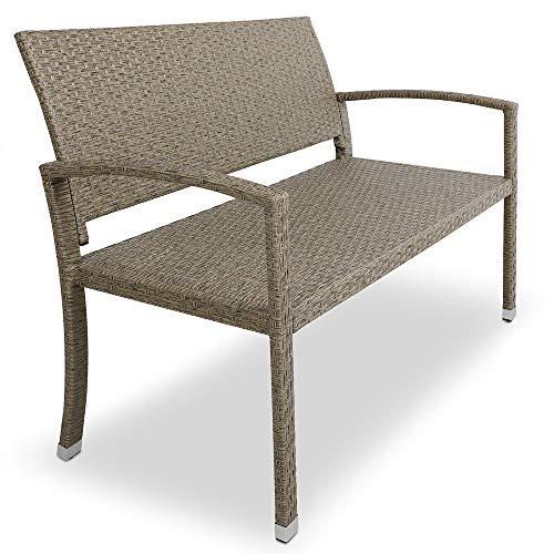 Deuba® Gartenbank Poly Rattan   Grau Creme 2-Sitzer UV-Lichtbeständig Sitzkomfort   Parkbank Balkon Garten Möbel Sitzbank