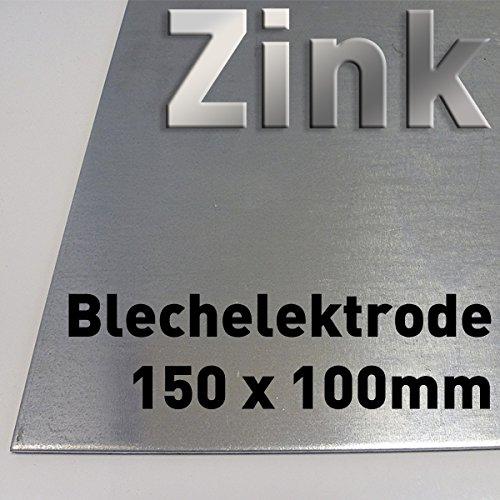 Zink-Blech 100 x 150 mm, Reinzink, als Anode/Elektrode (10 x 15 cm) für Zinkelektrolyt/Galvanik, Verzinken