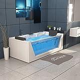 Tronitechnik Whirlpool Badewanne Mykonos 180cm x 88cm mit Heizung, Wasserfall, Hydromassage und Farblichtherapie