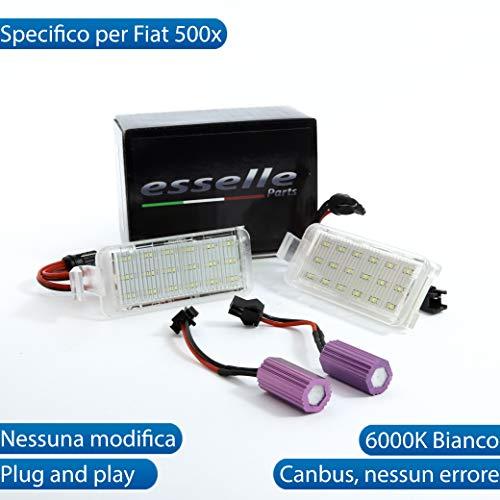 ESSELLE PARTS Coppia PLACCHETTE LED Targa LUCI Targa Complete Fiat 500X 18 LED su Ogni PLACCHETTA...