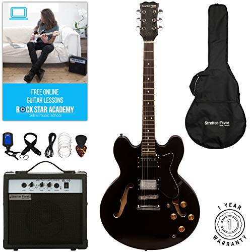 Stretton Payne 335 Hollow Body Semi Acoustic Electric Guitar with practice amplifier, padded bag, strap, lead, plectrum, tuner, spare strings. Guitar in Black