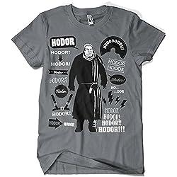 396-Camiseta SoftStyle Juego De tronos - Hodor Famous Quotes (Olipop)(XL,Gris Oscuro)