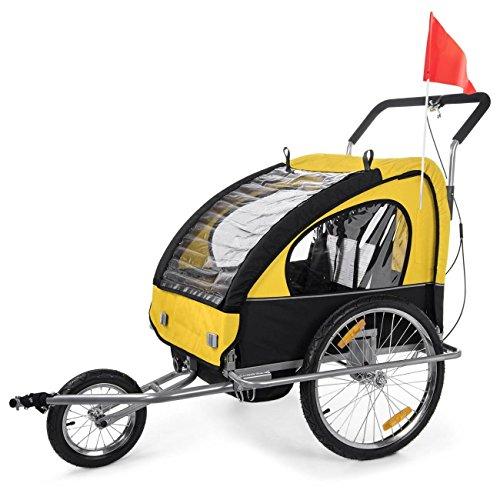 SAMAX 2 in 1 Rimorchio Bicicletta Passeggino Bambini, Portabambini Bici Transporto Sicurezza Completamente Ammortizzato, Verde