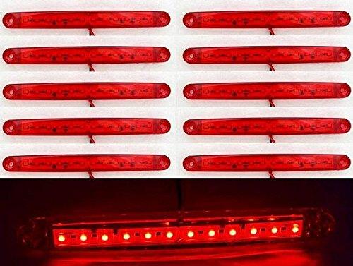 10luci di ingombro rosse, posteriori, a 12 LED, 24 V, per furgone, caravan, telaio, autobus e camion con cassone ribaltabile