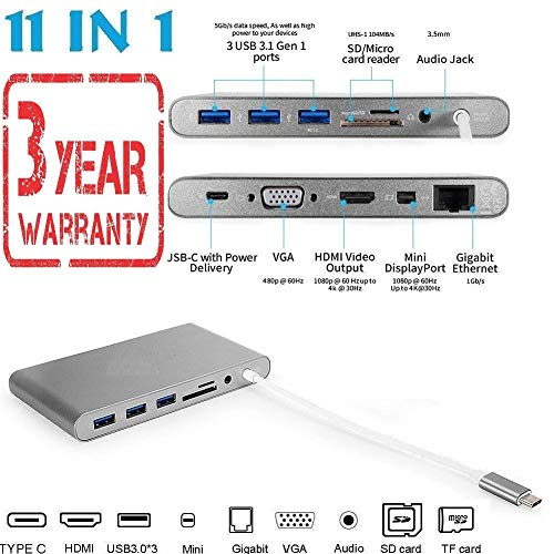 Famous Quality® High Speed 11-in-1 Surface PC Docking Station w Power Delivery Charging, USBC 5Gbps Data, 4K HDMI, 3xUSB 3.1 Ports, VGA, etc USB C Hub, Type C Adapter for MacBook Pro, Laptop USB-C Devices, Ultimate 3 Year Warranty.