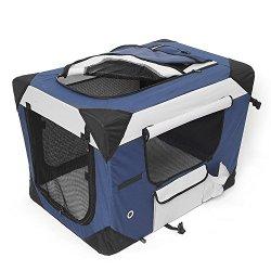 hundeinfo24.de Amzdeal Hundebox Katzentransportbox, Faltbare Transportbox katzen und Hunde, Klappbare Autobox Reisebox mit Seitlichem Einstieg und Weicher Decke, 60 x 42 x 42CM