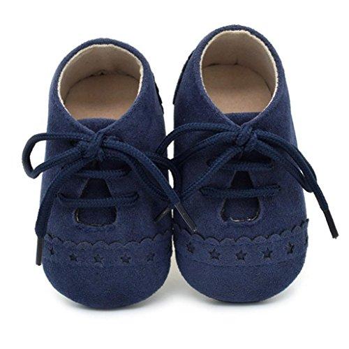 Reasoncool Bambino Pattini del Bambino Sneaker Antiscivolo Morbida Sole Scarpe Stringate (0-6M, Blu Scuro)