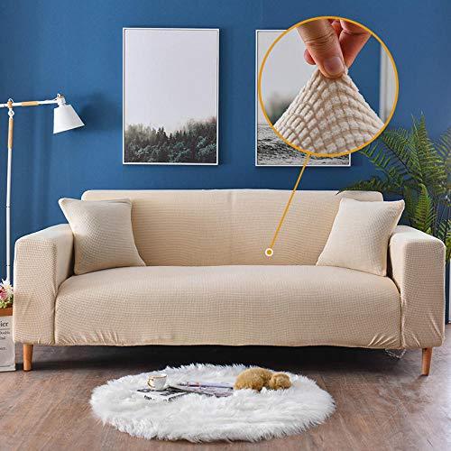 ARTEZXX Copridivano Tinta Unita Panno di Mais Addensato Tutto compreso Sofa Mobili Protettore Copertura Divano Antiscivolo Ideale per poltrone divani a 1/2/3/4 posti Beige 3 posti: 190-230 cm
