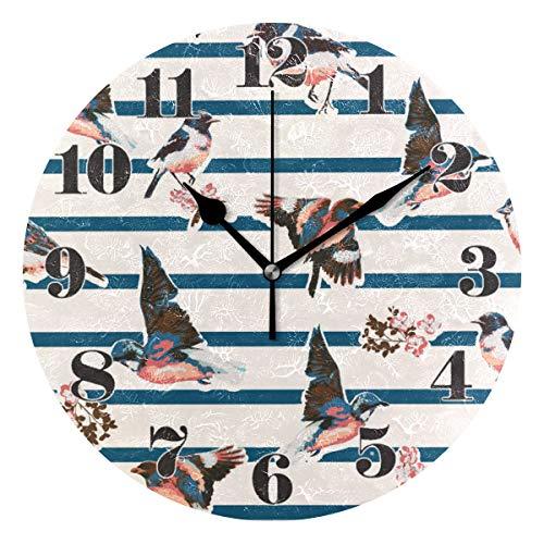 Mnsruu Orologio da Parete Silenzioso, con Uccellini Rotondi e Fiori, per casa, Camera da Letto, Ufficio, Facile da Leggere