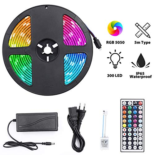 Strisce LED RGB 300 LED, Striscia LED 5M Impermeabile 5050 per Esterni Interno, TV...