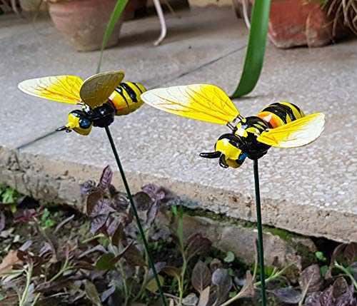 Wonderland Set of 2 : Honey Bee garden stake / garden stick for balcony decoration, garden decor, home decoration, garden accessories, garden stakes for plant, garden stick plastic, diwali decor, diwali gift item, diwali decoration, diwali decorations items for home, dipawali special