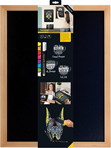 Securit Lavagna da parete Woody 40x60 - Teak Naturale - 1 pennarello a gesso liquido Bianco