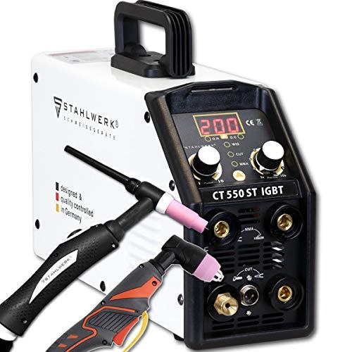 STAHLWERK CT550 ST - kompaktes WIG/MMA Schweißgerät mit Plasmaschneider bis 12mm, 200 Ampere WIG/MMA + 50 Ampere CUT, 5 Jahre Garantie*, weiß