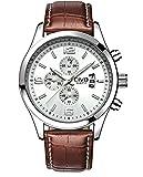 CIVO Men's White Decorative Sub Dial Japan Movement Brown Leather Band Wrist Watch Men Waterproof Business Casual Dress Watches Classic Simple Design Analogue Quartz Wristwatch for Men
