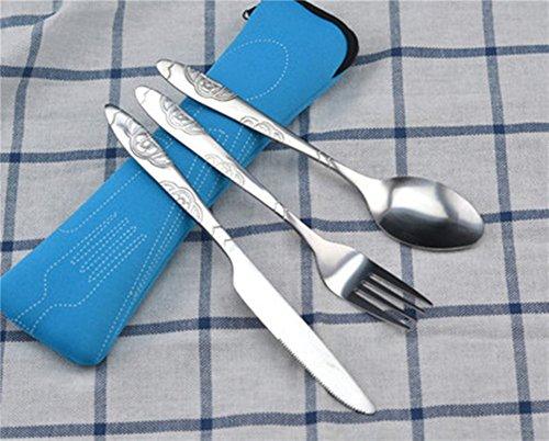 RedColory 3 Piezas de Viaje portátiles de Acero Inoxidable cuchillería Reutilizables vajilla Conjunto con Bolsa de Cremallera Azul 2