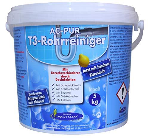 AQUA CLEAN PUR T3 Rohrreiniger & Abflussreiniger 5kg Neu mit Geruchsverhinderer durch Desinfektion und Zitrusduft