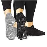 LA Active Calcetines Antideslizantes - Para Yoga Pilates Ballet Barre Mujer Hombre (Gris y Negro, 37-40 EU)