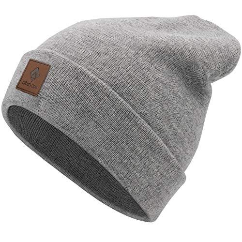 urban ace| Street Classics | Beanie, Mütze, mit Lederpatch | Damen, Herren | für das ganze Jahr, weicher Stoff (grau)