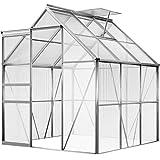Deuba Aluminium Gewächshaus 5,85m³ 190x195cm Treibhaus Gartenhaus Frühbeet Pflanzenhaus Aufzucht