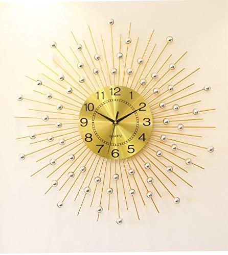 WWGZ Orologio da Parete in Metallo,Moderna Tonda Design Orologio di Diamanti,Decorazione Orologio da Parete Soggiorno e Camera da Letto-d'oro 45x45cm(18x18inch)