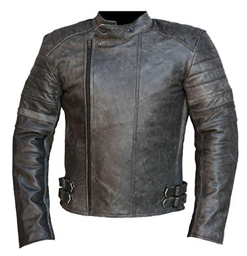 Bangla Retro Klassische Herren Motorradjacke Chopperjacke Leder 201441 Antik Grau 1