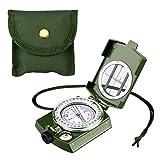 ENKEEO Brújula Militar, Multifuncional Compass/Compás con Alta Precisión, Impermeable Caja de Metal con la Bolsa para la navegación, Campamento, excursión, Aventura, Viajes (Verde/Camuflaje)