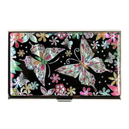 Tarjetero de Madreperla con Diseño de Mariposas para Dinero Efectivo Tarjetas de Negocio Identidad y Crédito en Metal de Acero Inoxidable Grabado Delgada Billetera