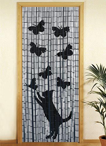 WENKO Bambusvorhang Katze und Schmetterling, Türvorhang, Bambus, 90 x 200 cm, mehrfarbig