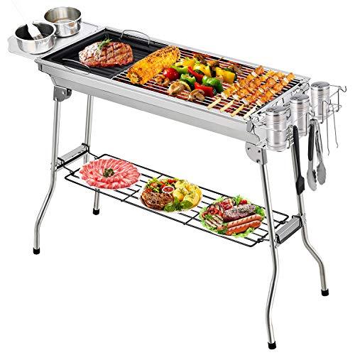 Fixget Barbecue Grill, Grill Barbecue Carbone Griglia Barbecue per 5-10 Persone, Utensile BBQ Grill...