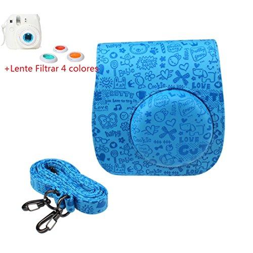 Malloom®realzar lindo cuero de la PU cámara funda protector bolsa caso y la cubierta para FUJIFILM Instax Mini8 Mini8s Azul
