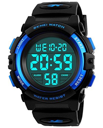 ragazzi orologi digitali, bambini sport 5 atm impermeabile orologio con sveglia/cronometro/EL Light,...