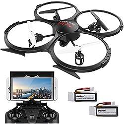 Drone con FPV WIFI versión U818A con cámara HD de 720P de vídeo en tiempo real Quadcopter RC con modo sin mando – Control fácil para principiantes