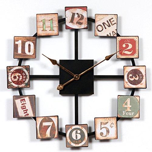Jo332Bertram 60cm Orologio da Parete Grandi, Vintage Stile Silenzioso in Metallo Orologio da Muro Decorazione per Cucina, Soggiorno, Camera da Letto