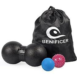 Benificer Bolas de Masaje (Juego de 3) Doble Pelota de Lacrosse Pinchos Ball Para Liberación Miofascial y Muscular Trigger Point para Espalda, Hombros, Pies y Más