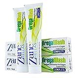Zane Hellas Oregawash Pasta de dientes.Con Aceite de Orégano.Ideal para la gingivitis,la placa,la boca seca y el mal aliento.Alivio del dolor dental.100% Pasta de dientes a base de hierbas.Paquete de2