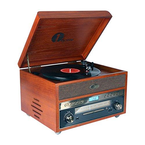 1byone Giradischi Vintage Classico in Legno Giradischi Bluetooth Nostalgia per Vinili con AM/FM, CD,...