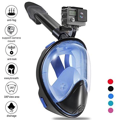 Zenoplige Tauchmaske, Vollmaske Schnorchelmaske Vollgesichtsmaske mit 180° Sichtfeld, Dichtung aus Silikon Anti-Beschlag und Wasserdicht für Kinder und Erwachsene