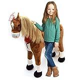 XXL Plüschpferd 105cm - Elsa, das riesige Reitpferd für Kinder, ein tolles Stehpferd Spiel-pferde XXL Pferd zum Draufsitzen inkl. kleiner Bürste, 100kg Tragkraft - ein Kindertraum für Mädchen! Farbe: braun/blonde Mähne
