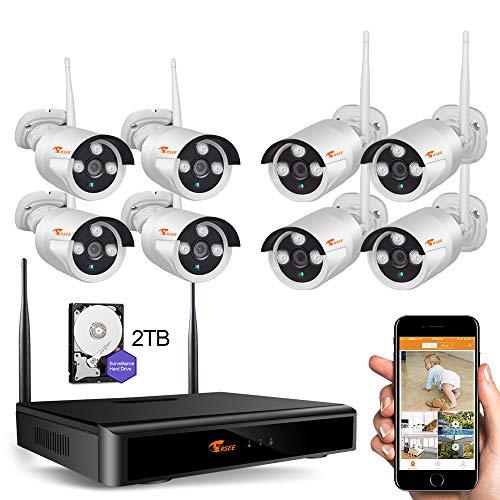 CORSEE Kit Videosorveglianza Senza Fili,8 Canali 1080P NVR Con 8 All'aperto Visione Notturna Sicurezza 1080P Telecamera, 2TB Disco Rigido.(1080P Full HD,Con Funzione Audio)