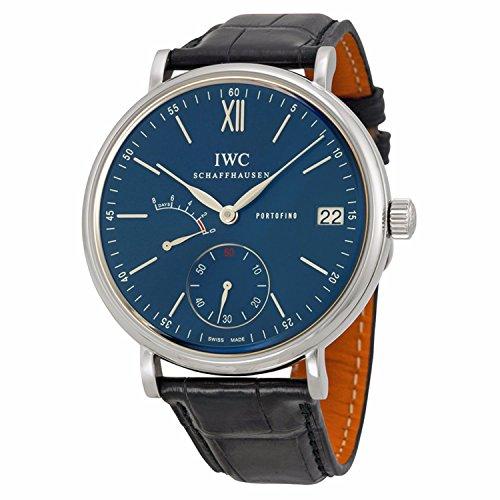 Porsche Herren 45mm schwarz Leder Band Stahl Fall Saphirglas Automatische blau Zifferblatt analoge Uhr iw510106