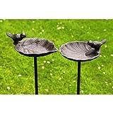 Bain d'oiseaux Abreuvoir pour les oiseaux sur un tige métallique en fonte, 1 pièce, hauteur 98 cm
