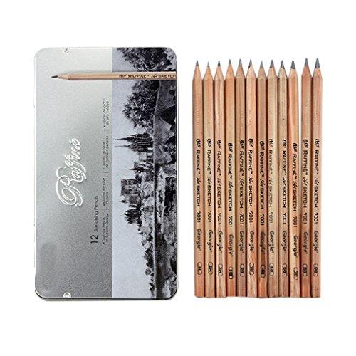 Liying Neu Skizzerset Zeichenset Skizzierstifte Set 12 Bleistiften 9B-3H in Metalletui für Anfänger Geschenkset