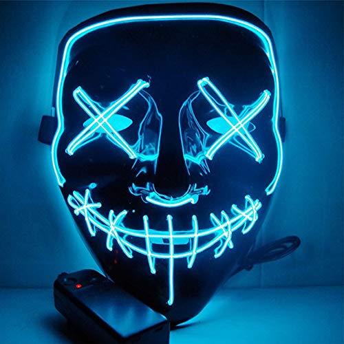 SunRlity Halloween Maske LED Leuchten Party Masken Die Reinigung Wahl Jahr Große Lustige Masken Festival Cosplay Kostüm Liefert Glow In Dark (Ice Blue)