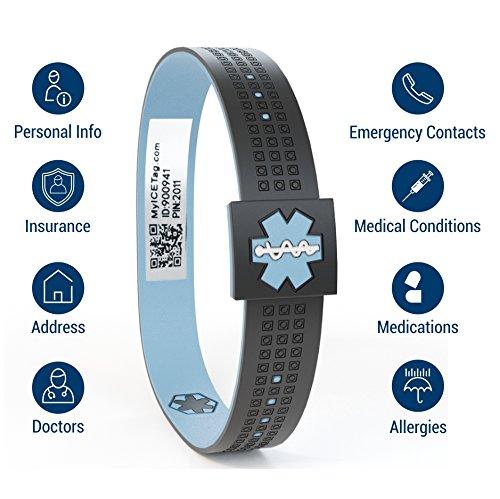 MyICETag Medical Alert ID Bracelet - Fits Men, Women- Model Smart - Black Blue - Size MD