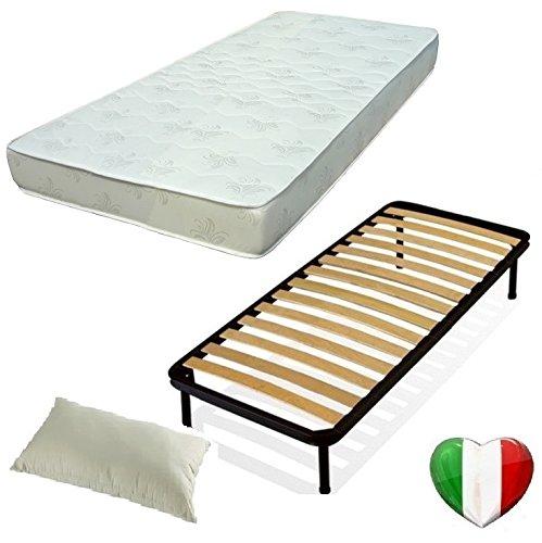 Set 120X190 Rete Materasso E Cuscino Kit Letto Completo Letto Piazza E Mezza Rete A DOGHE