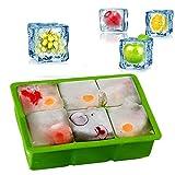 iNeibo, Molde de cubitos de hielo hecho de silicona de grado alimenticio para 6 cubos de hielo XXL. Verde