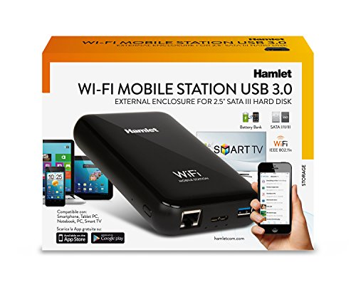 Hamlet Wi-Fi Mobile Station box esterno wireless per hard disk SATA 2,5'' con caricabatterie