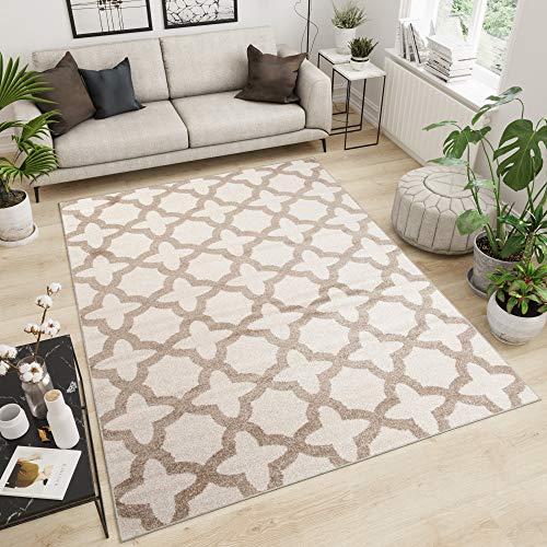 TAPISO Maroko Tappeto Camera Soggiorno Salotto Moderno Crema Ecrù Geometrico Mosaico A Pelo Corto...