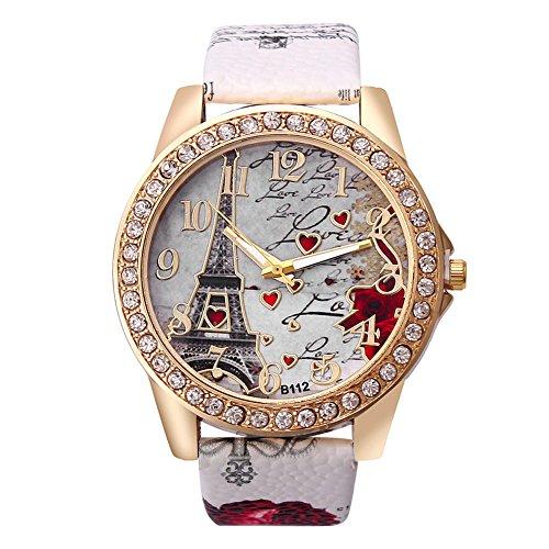Jingyuu Orologio da donna in pelle PU a forma di cuore, orologio casual, multifunzione, orologio...
